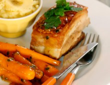 Twice Cooked Pork Belly with Passionfruit Carrots