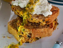 Banana Passionfruit bread with Ricotta and fresh passionfruit