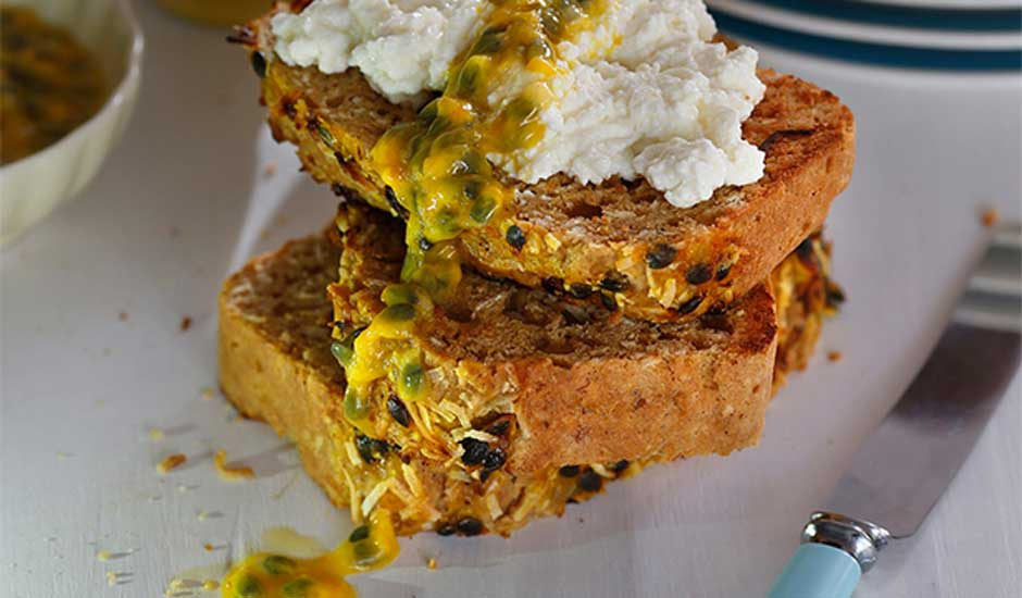 Banana-Passionfruit-bread-with-Ricotta-and-fresh-passionfruit
