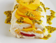 Passionfruit, Mango and Strawberry Pavlova Roll