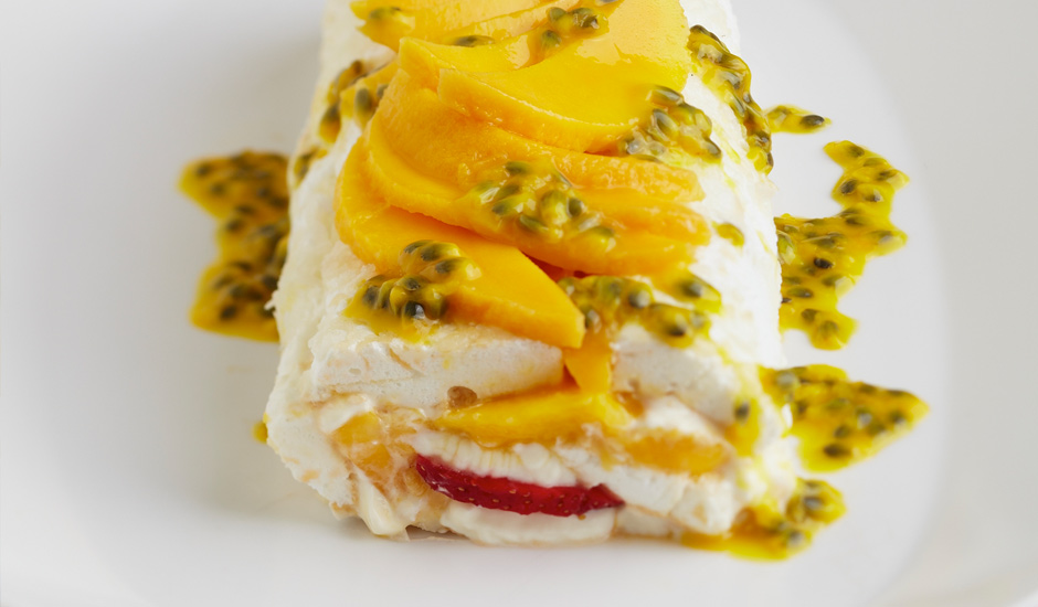 Passionfruit, Mango-and-Strawberry-Pavlova-Roll