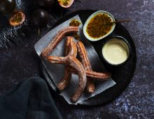 Tropical Churros with Passionfruit Sauce